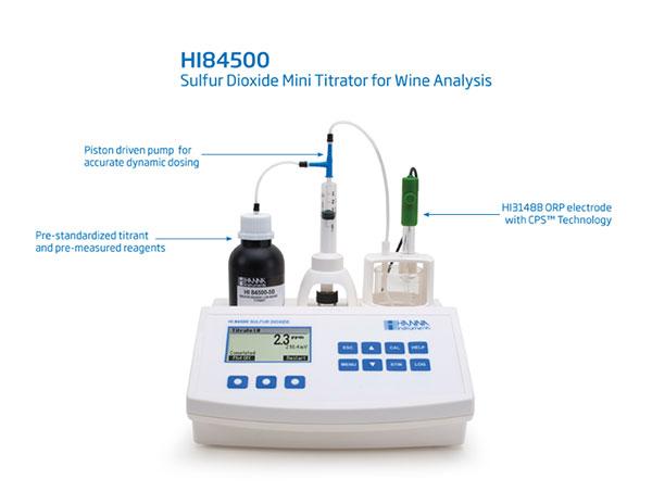 HI84500:用于葡萄酒实验室的免费和全SO2迷你滴定仪