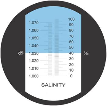 Salinity refractometer shadow line