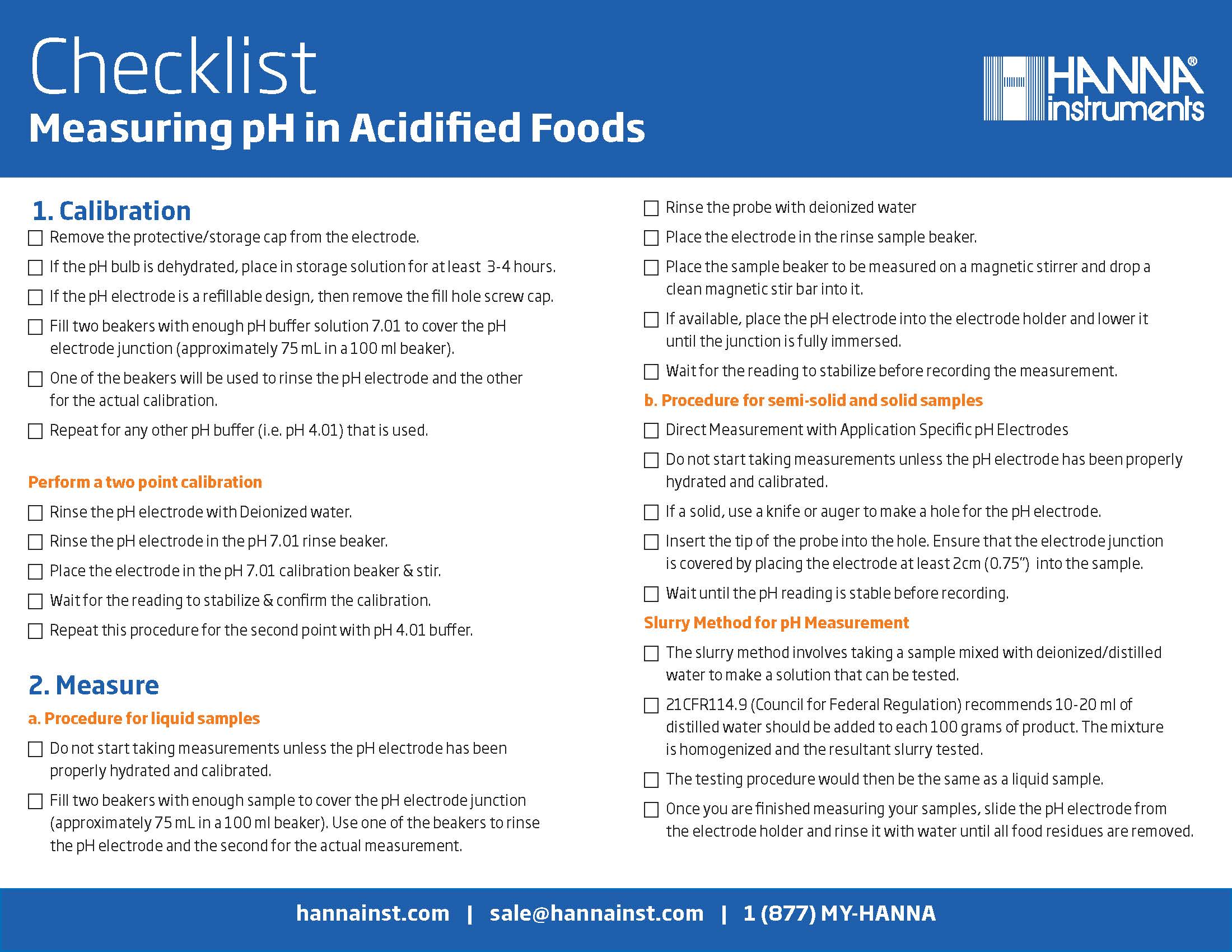 Hanna Checklist Measuring pH in Acidified Foods