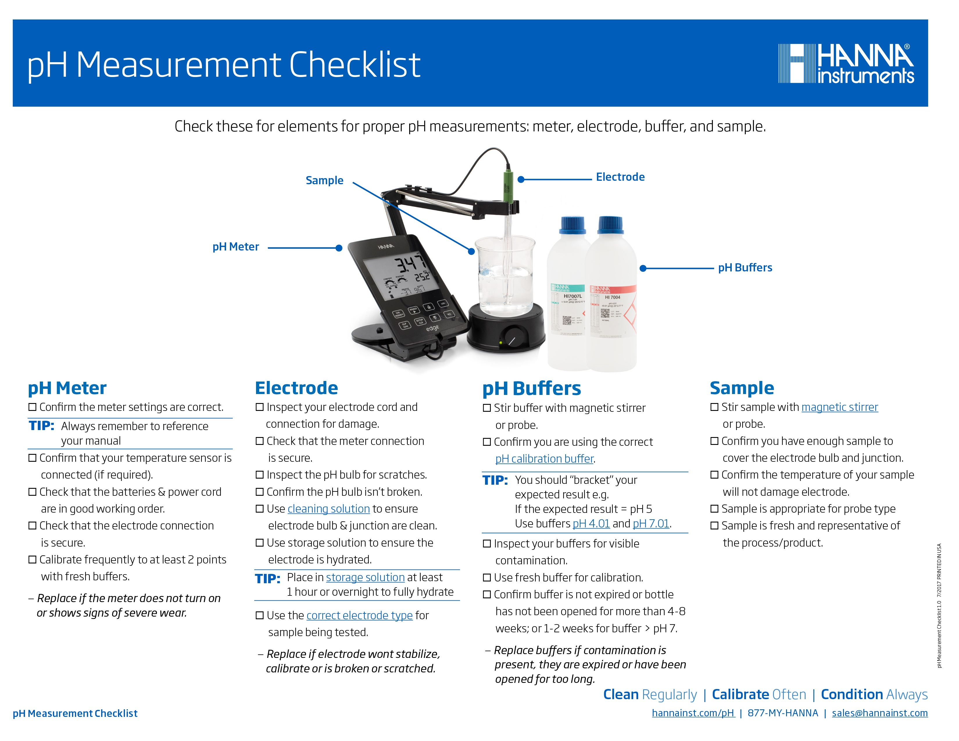 pH Measurement Checklist Hanna Instruments