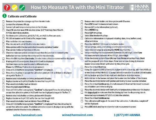 Measuring TA (Titratable Acidity) in Wine Checklist - Hanna Instruments