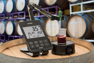 Wine lab set up for edge pH meter
