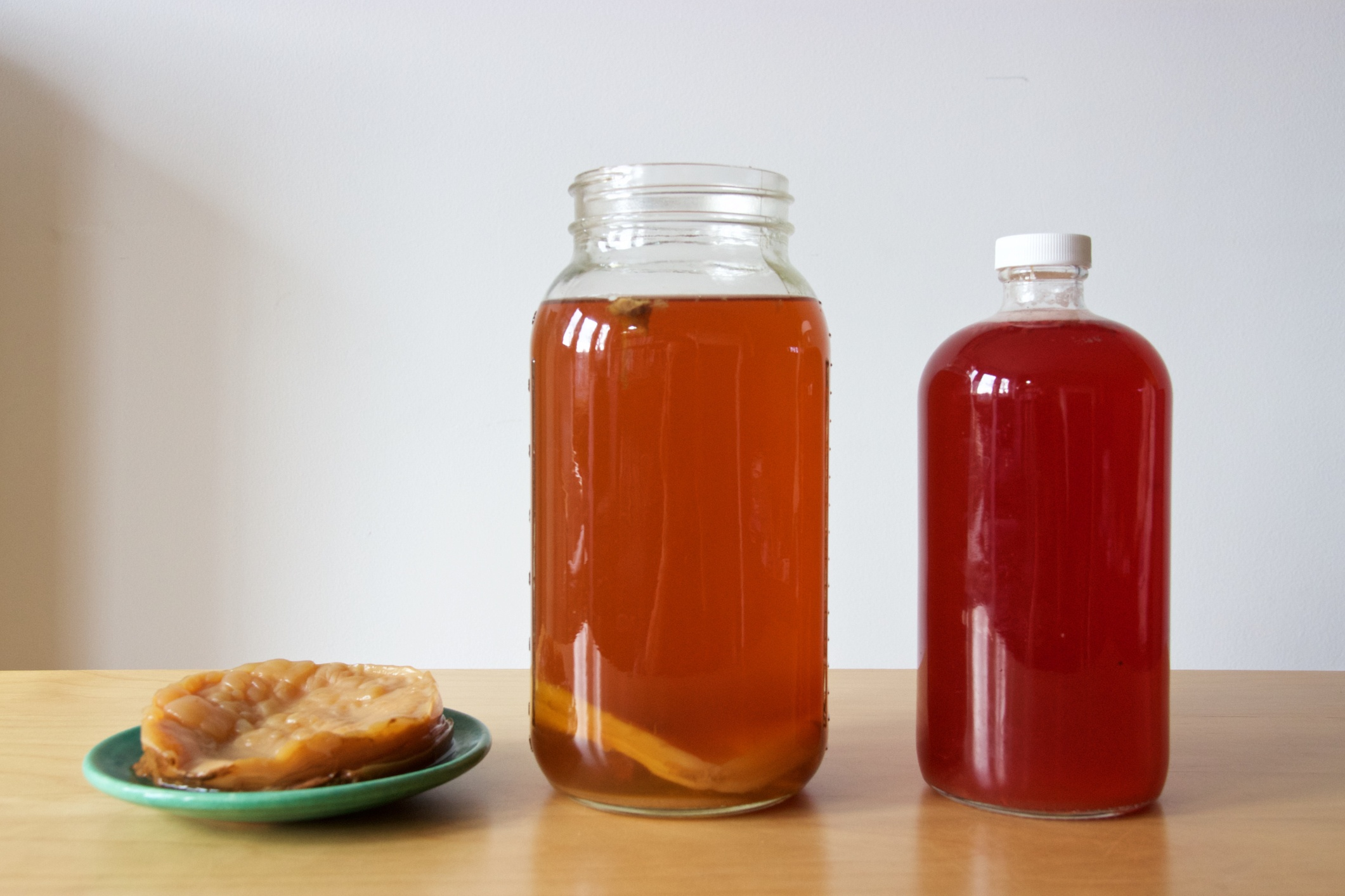 kombucha bottles and scoby